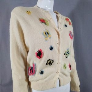Vintage 50s butterfly cardigan button up sweater
